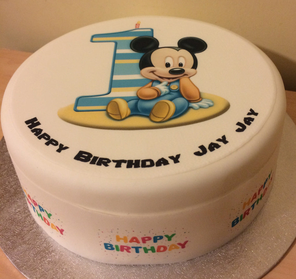 Groovy 1St Birthday Mickey Mouse Edible Icing Cake Topper The Caker Online Personalised Birthday Cards Petedlily Jamesorg