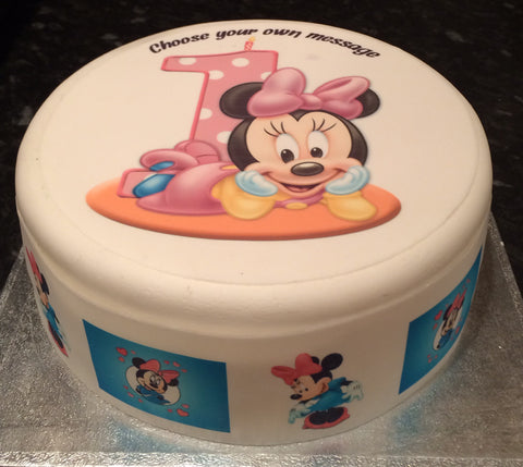 01 1st Birthday Minnie Mouse Edible Icing Cake Topper