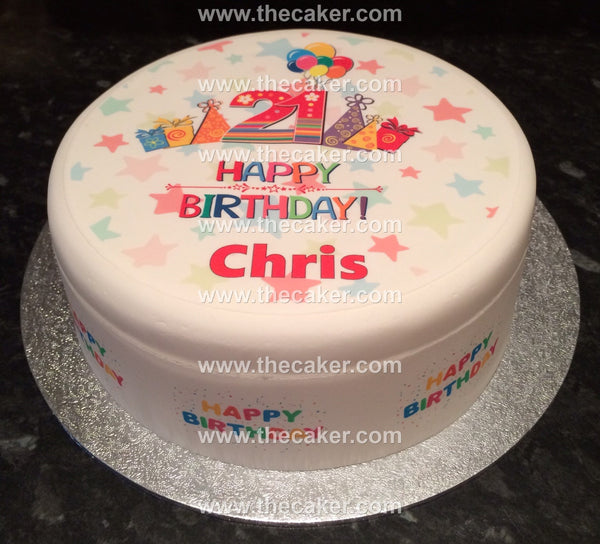 21st Birthday Edible Icing Cake Topper 01