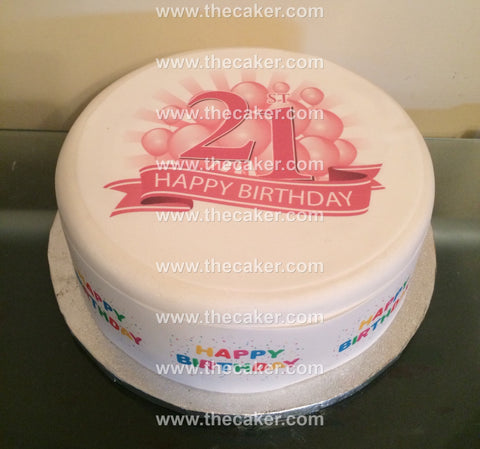 21st Birthday Pink Edible Icing Cake Topper 03