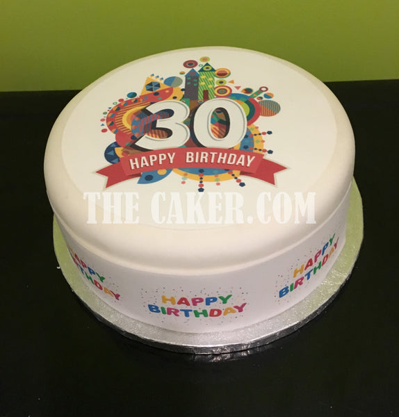 30th Birthday Edible Icing Cake Topper 01