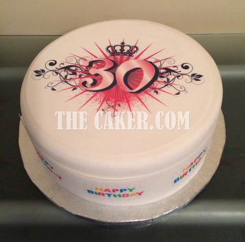 30th Birthday Pink Edible Icing Cake Topper 06