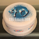 40th Birthday Edible Icing Cake Topper 01