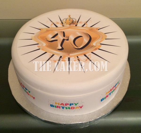 40th Birthday Edible Icing Cake Topper 02