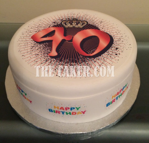 40th Birthday Edible Icing Cake Topper 03