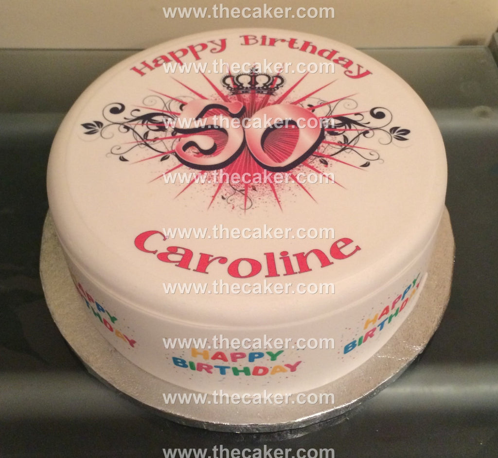 50th Birthday Edible Icing Cake Topper 03 The Caker Online