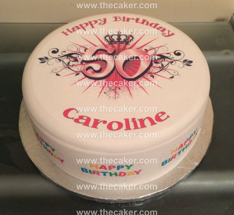50th Birthday Pink Edible Icing Cake Topper 03