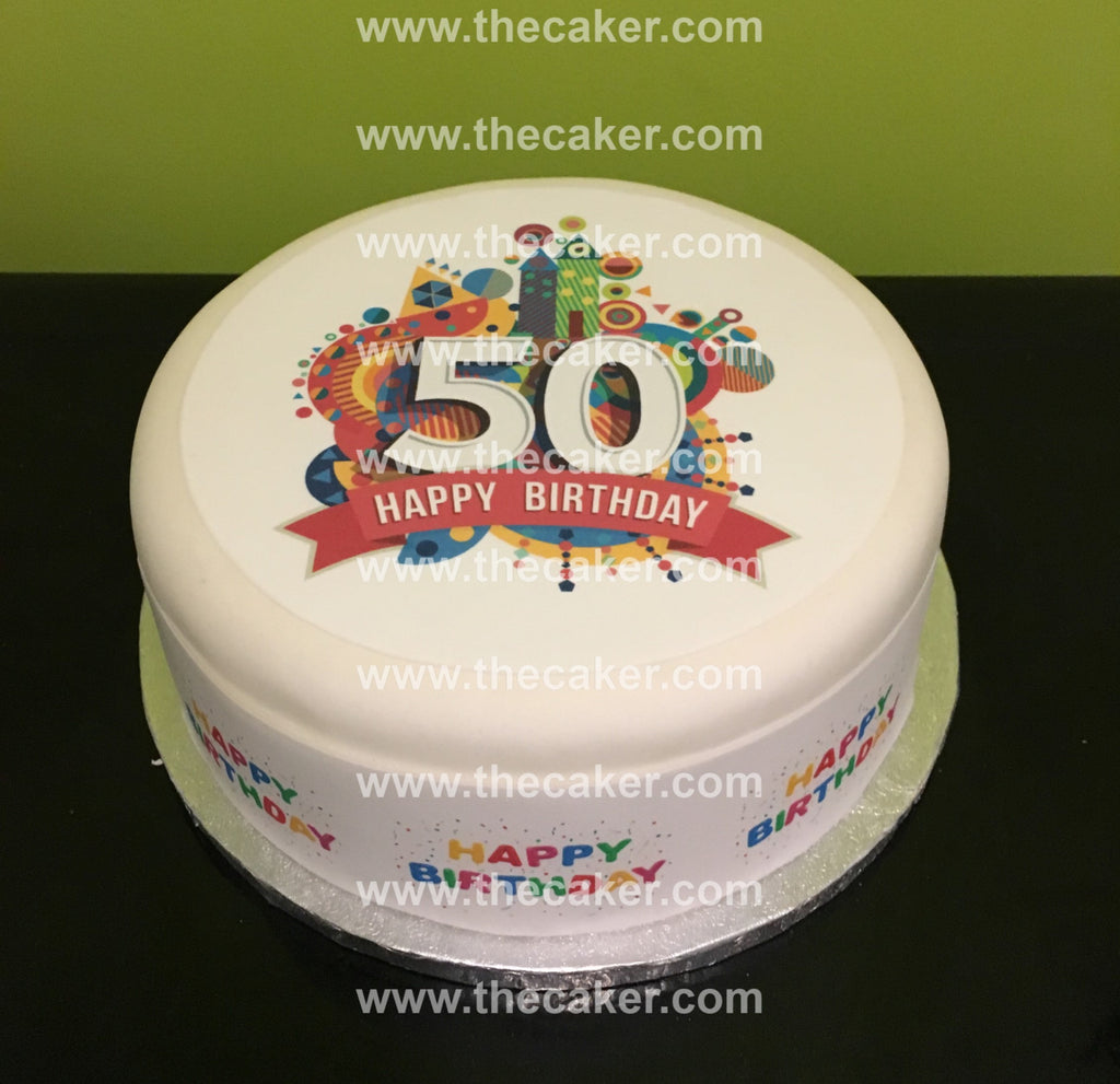 50th Birthday Edible Icing Cake Topper 04 The Caker Online