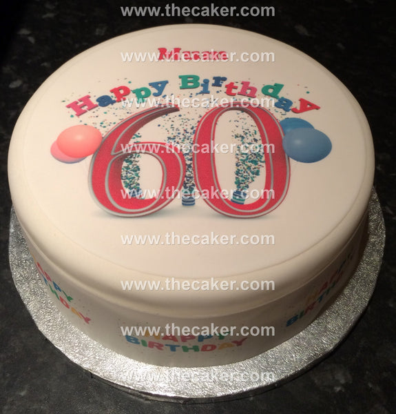 60th Birthday Unisex Edible Icing Cake Topper 01