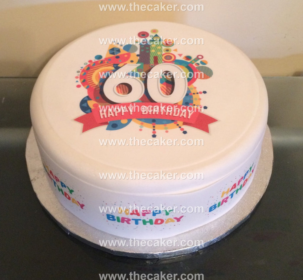 60th Birthday Unisex Edible Icing Cake Topper 02 The Caker Online