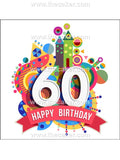 60th Birthday Unisex Edible Icing Cake Topper 02