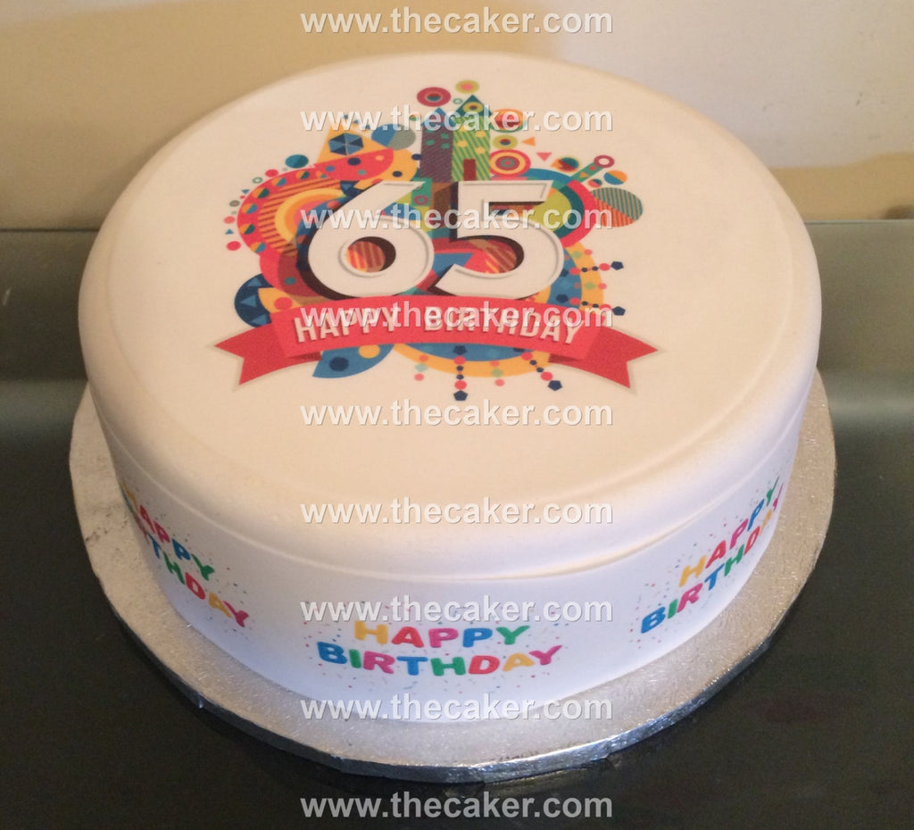 65th Birthday Unisex Edible Icing Cake Topper 01 The Caker Online