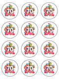 70th Birthday Unisex Edible Icing Cake Topper 02