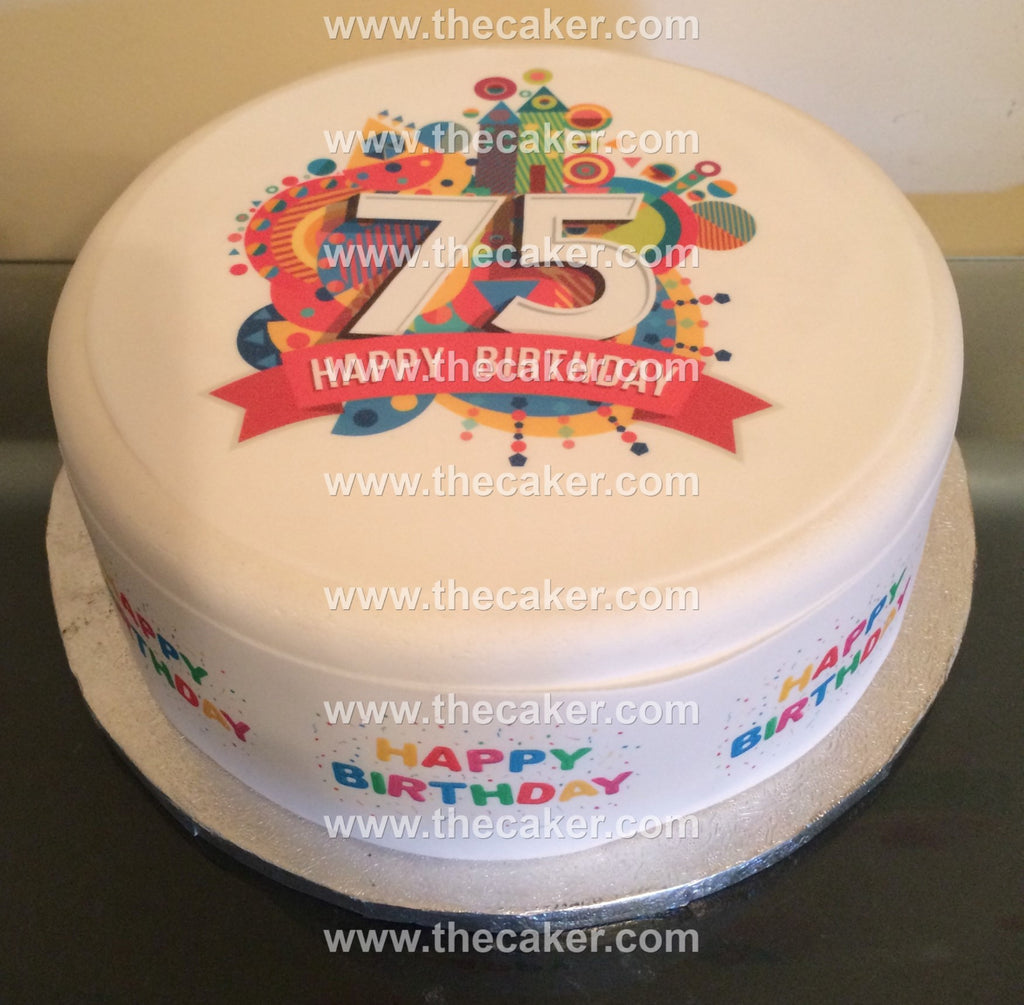 75th Birthday Unisex Edible Icing Cake Topper 01 The Caker Online