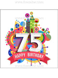 75th Birthday Unisex Edible Icing Cake Topper 01