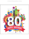 80th Birthday Unisex Edible Icing Cake Topper 01