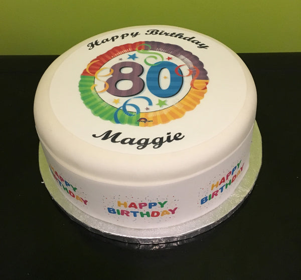 80th Birthday Unisex Edible Icing Cake Topper 03