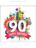 90th Birthday Unisex Edible Icing Cake Topper 01
