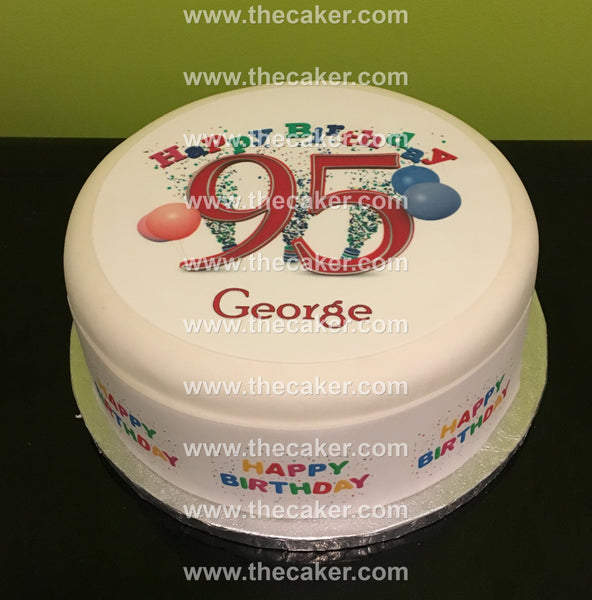 95th Birthday Unisex Edible Icing Cake Topper 01
