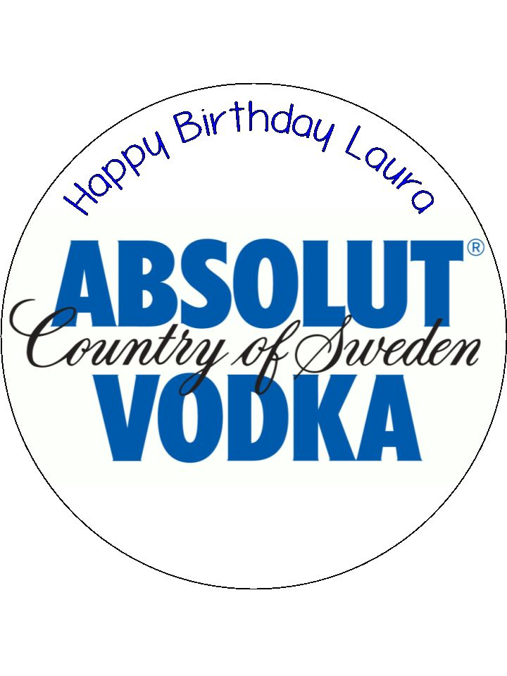 absolut vodka logo edible icing cake topper the caker online