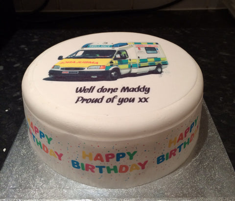 Ambulance Edible Icing Cake Topper 01