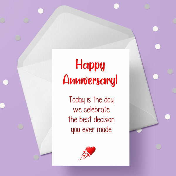Funny Anniversary Card 07 - Best decision