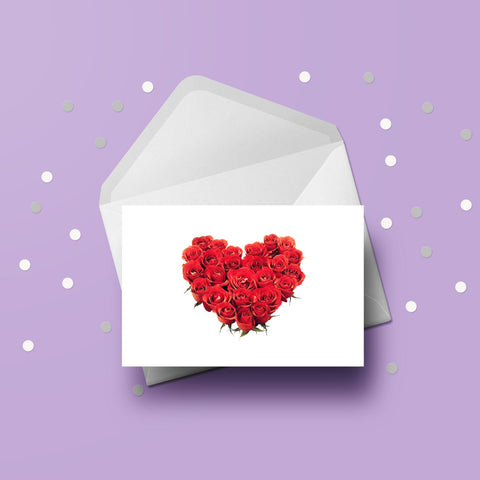 Anniversary Card 06 - Red Roses Love Heart