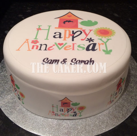 Anniversary Edible Icing Cake Topper 03