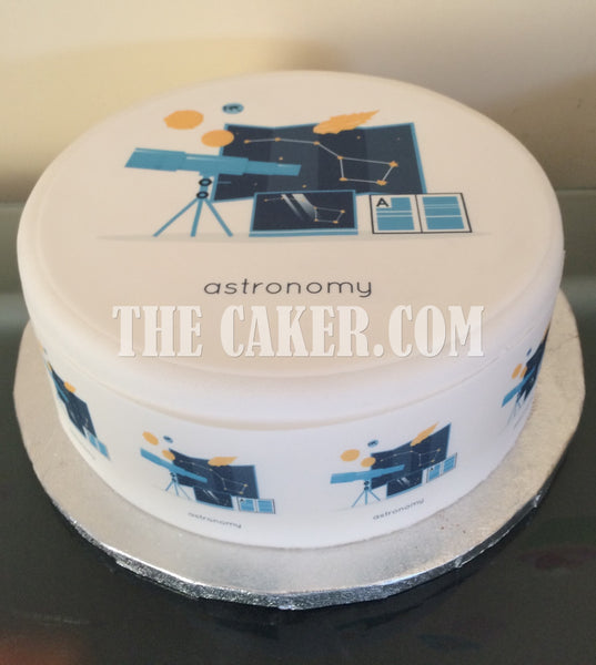 Astronomy Telescope Edible Icing Cake Topper 01