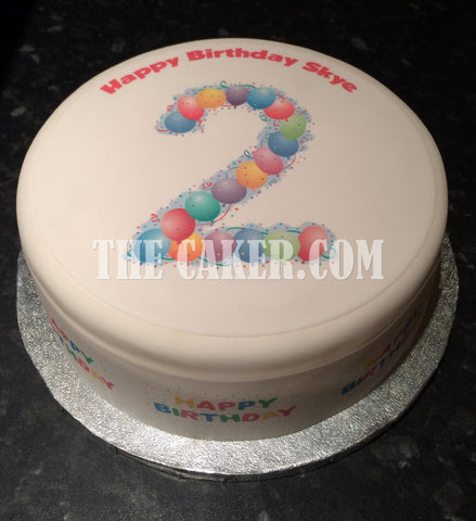 02 2nd Birthday Balloons Edible Icing Cake Topper
