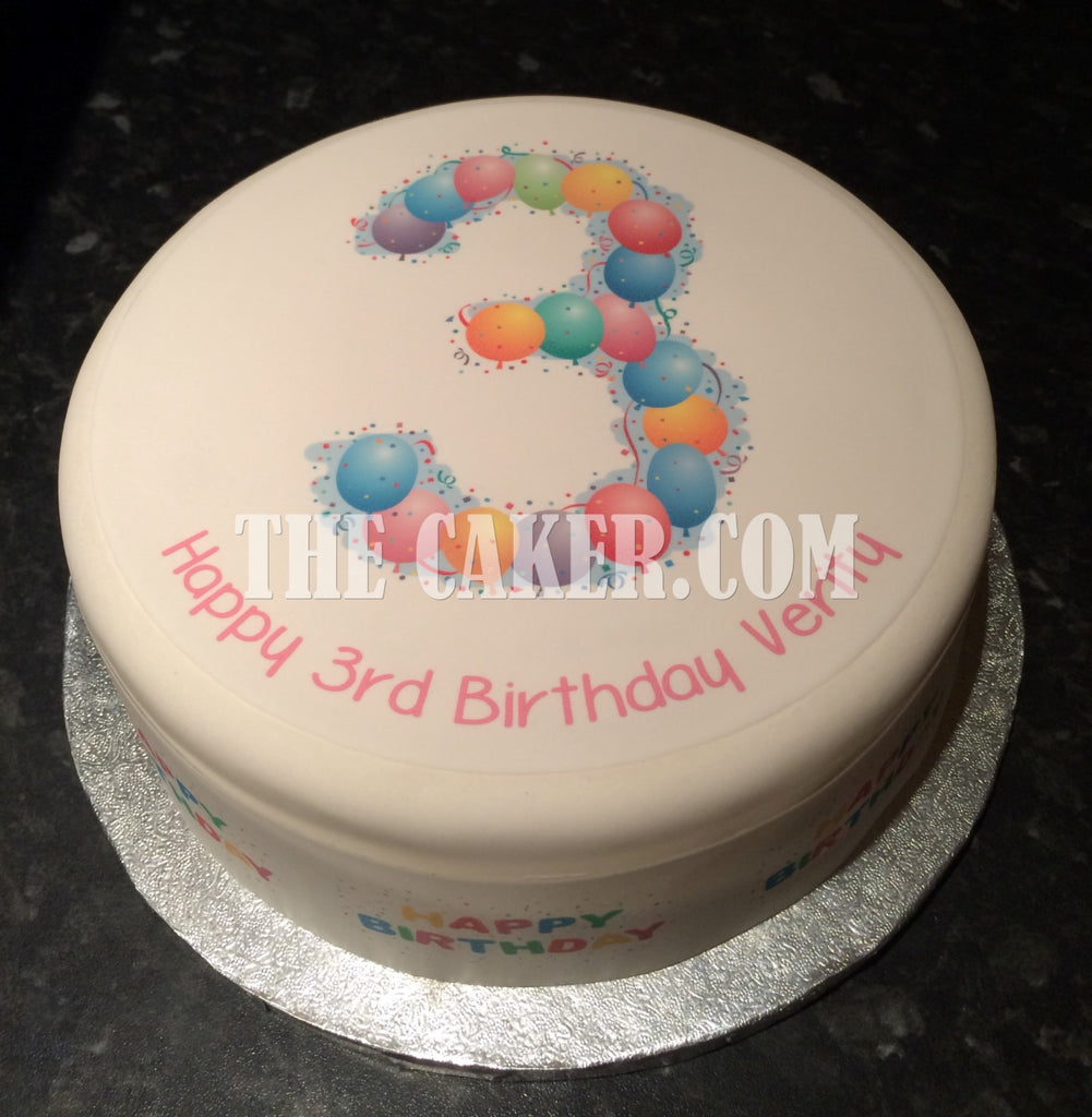 3rd Birthday Balloons Edible Icing Cake Topper The Caker Online