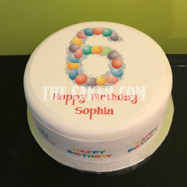 6th Birthday Balloons Edible Icing Cake Topper