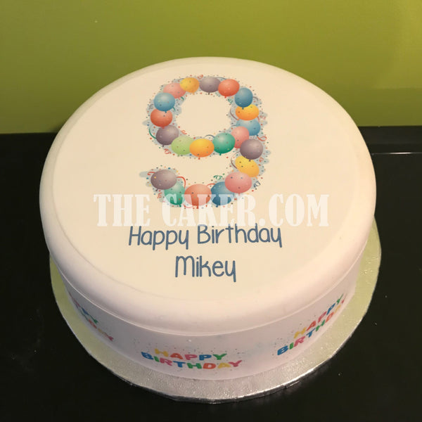 9th Birthday Balloons Edible Icing Cake Topper