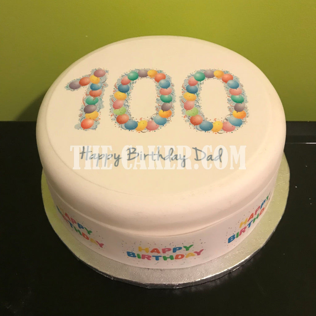 Admirable 100Th Birthday Balloons Edible Icing Cake Topper The Caker Online Funny Birthday Cards Online Aboleapandamsfinfo