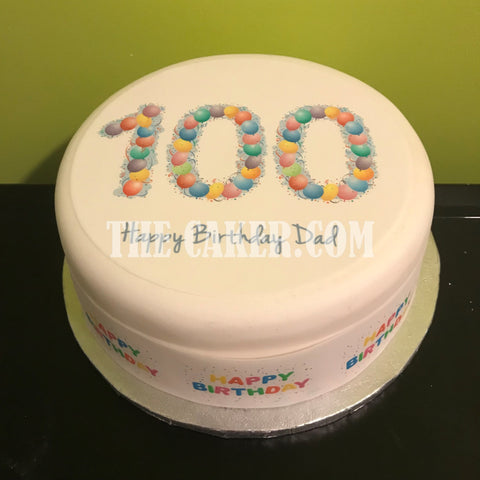 100th Birthday Balloons Edible Icing Cake Topper
