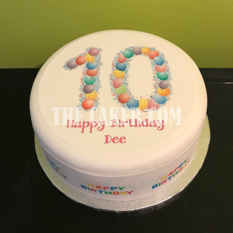 10th Birthday Balloons Edible Icing Cake Topper