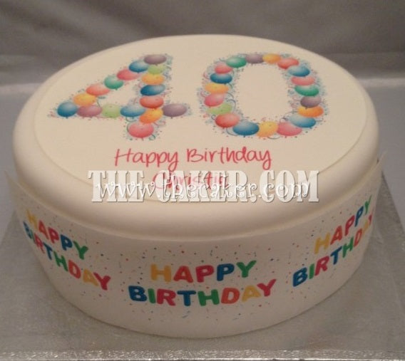 40th Birthday Balloons Edible Icing Cake Topper