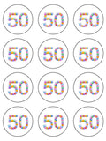 50th Birthday Balloons Edible Icing Cake Topper