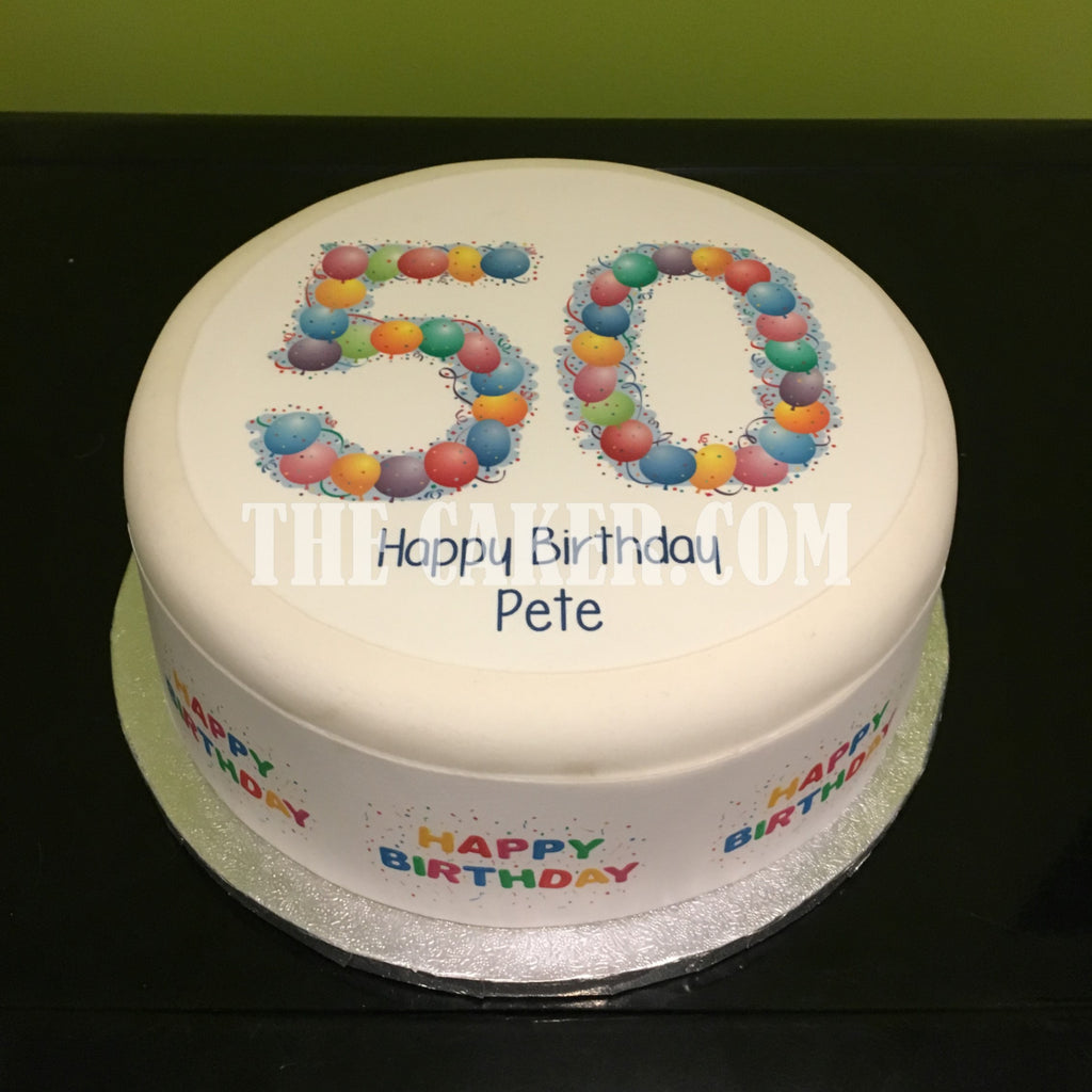 Incredible 50Th Birthday Balloons Edible Icing Cake Topper The Caker Online Funny Birthday Cards Online Ioscodamsfinfo