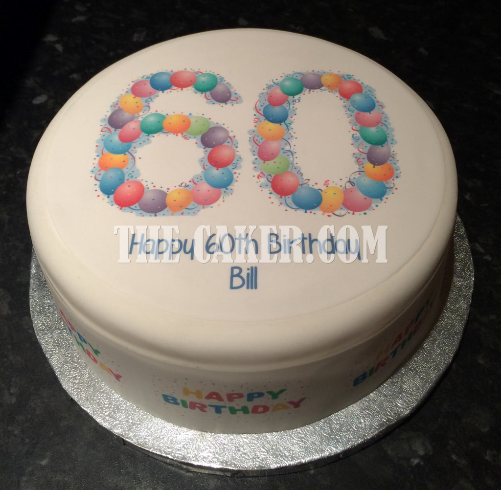 60th Birthday Balloons Edible Icing Cake Topper The Caker Online