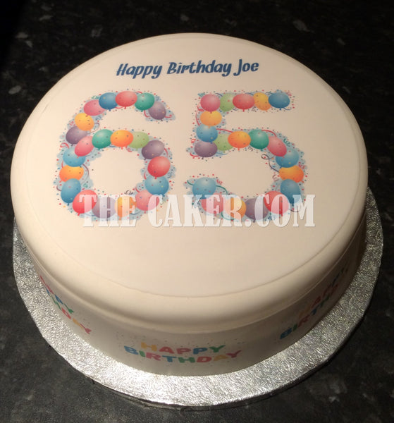 65th Birthday Balloons Edible Icing Cake Topper