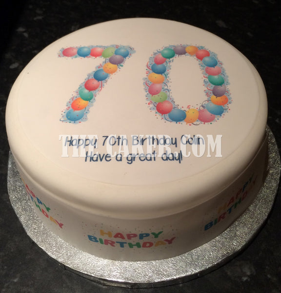 70th Birthday Balloons Edible Icing Cake Topper