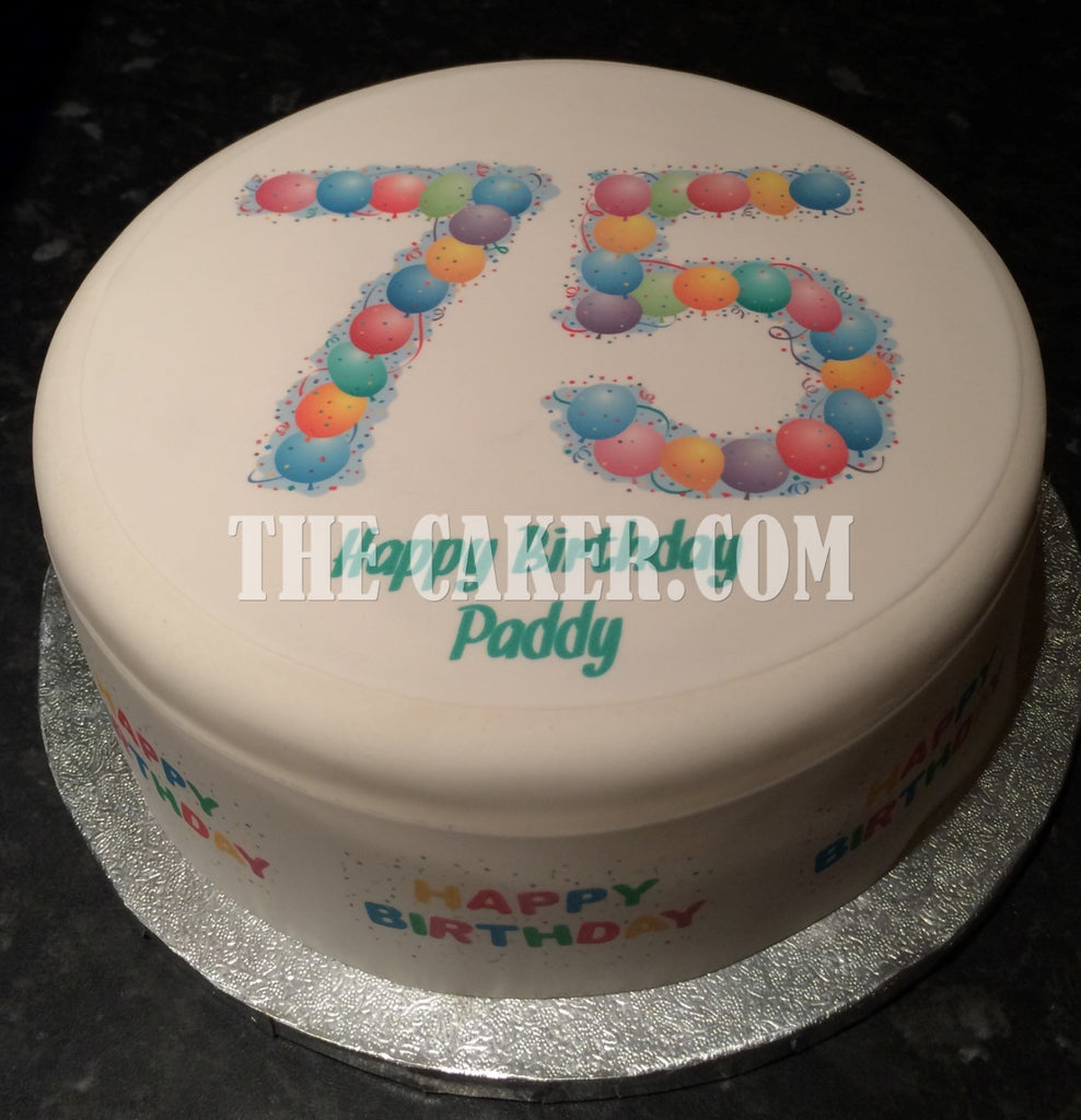 75th Birthday Balloons Edible Icing Cake Topper The Caker Online