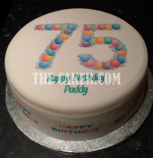 75th Birthday Balloons Edible Icing Cake Topper