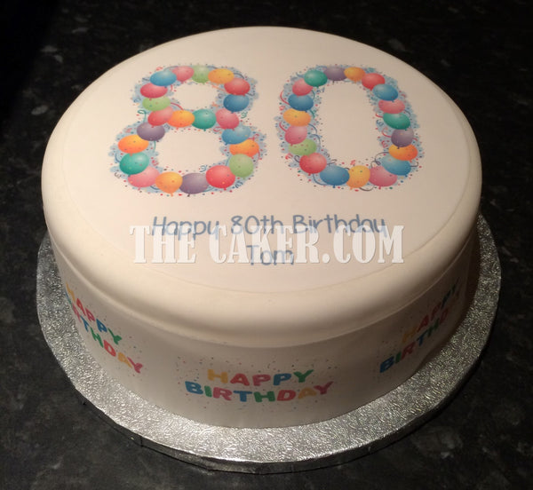 80th Birthday Balloons Edible Icing Cake Topper