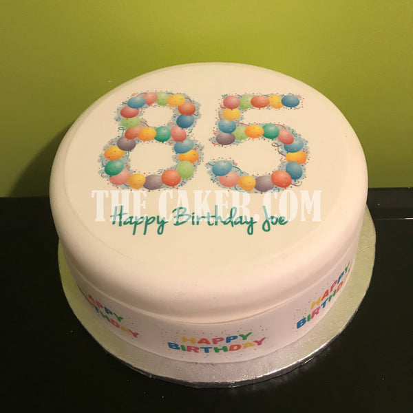 85th Birthday Balloons Edible Icing Cake Topper