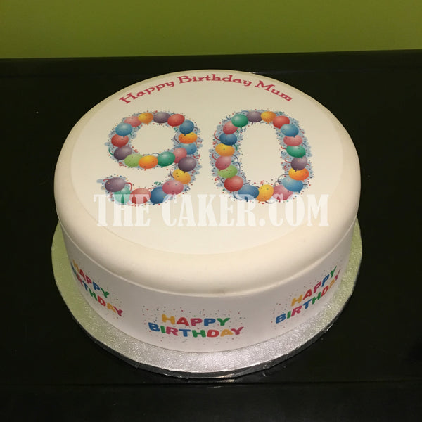 90th Birthday Balloons Edible Icing Cake Topper