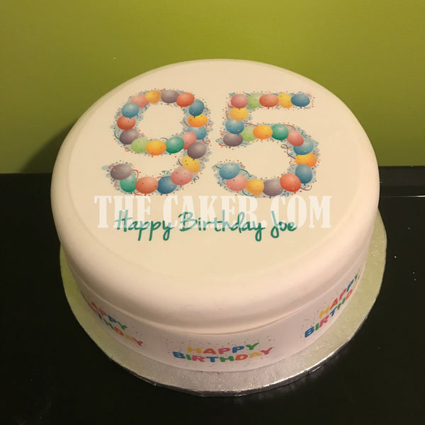 95th Birthday Balloons Edible Icing Cake Topper
