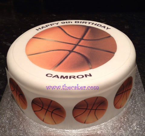 Basketball Edible Icing Cake Topper