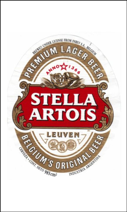 Beer Lager Label Edible Icing Topper 07 Stella Artois